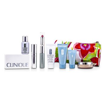 CliniqueTravel Set: Laser Focus + City Block + Turnaround Mask + Concentrate + Face Powder #20 + 4 Colors Eye Shadow + Mascare & Lipstick #43 + Brush + Bag 8pcs+1bag