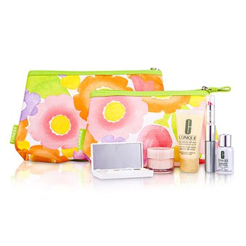CliniqueTravel Set: DDML Plus + Moisture Surge + Laser Focus + Eye Shadow Quad #05, 2A, 07 Duo + Mascara & Lipstick #62 + 2xBag 5pcs+2bags