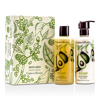 Crabtree & Evelyn Avocado, Olive Basil Perfect Pair: Bath Shower Gel 250Ml + Body Lotion 250Ml