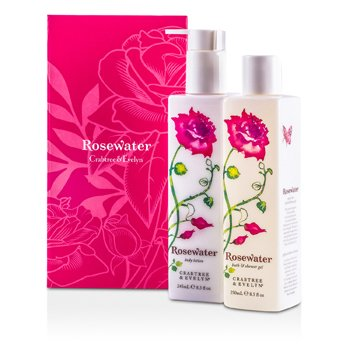 Crabtree & Evelyn Rosewater Perfect Pair: Bath & Shower Gel 250ml + Body Lotion 245ml  2pcs