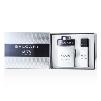 Bvlgari Man Extreme Coffret: EDT Spray 100ml/3.4oz + EDT Travel Spray 15ml/0.5oz 2pcs  men