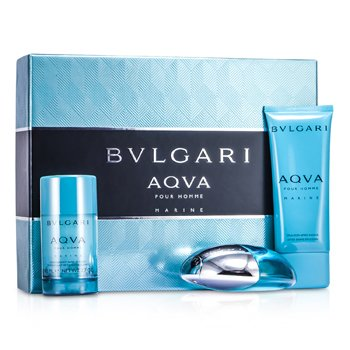 Bvlgari Aqva Pour Homme Marine Coffret: Eau De Toilette Spray 100ml/3.4oz + Deodorant Stick 75g/2.7oz + After Shave Emulsion 100ml/3.4oz 3pcs