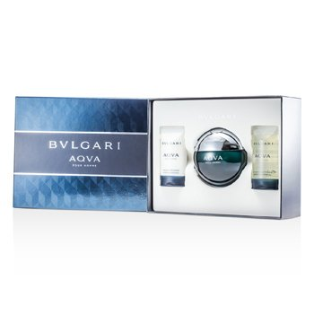 BvlgariAqva Pour Homme Coffret: Eau De Toilette Spray 100ml/3.4oz + Shampoo & Shower Gel 75ml/2.5oz + After Shave Emulsion 75ml/2.5oz 3pcs