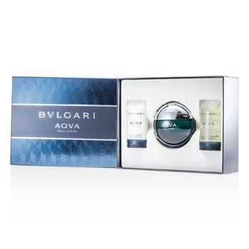 BvlgariAqva Pour Homme Kofre: Eau De Toilette Sprey 100ml/3.4oz + �ampuan ve Du� Jeli  75ml/2.5oz + After Shave Em�lsion 75ml/2.5oz 3pcs
