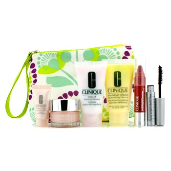 CliniqueTravel Set: Foaming Cleanser + DDML Plus + Moisture Surge + Overnight Mask + Mascara + Chubby Stick #04 Mega Melon + Bag 6pcs+1bag