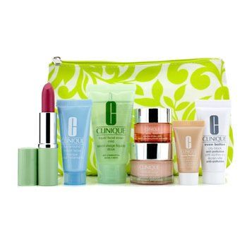 Travel Set: Liquid Facial Soap + Moisture Surge + All About Eyes Rich + Turnaround Mask + City Block + Foundation #63 + Lipstick (Water-Melon) + Bag