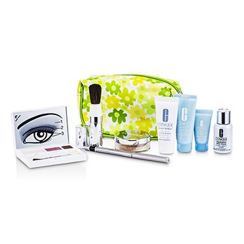 CliniqueTravel Set: Laser Focus + City Block +  Mask + Concentrate + Face Powder #20 + Eye Shadow Trio + Eyeliner + Brush + Bag 8pcs+1bag