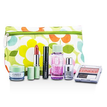 CliniqueTravel Set: Makeup Remover + Laser Focus + Turnaround Overnight Moisturizer + Powder Blusher (Pink Blush) + Mascara + Lipstick (Think Bronze) + Bag 6pcs+1bag