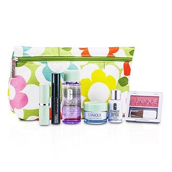 CliniqueKit de Viagem: Removedor de Maquiagem + Laser Focus + Creme Noturno + Blush (New Clover) + Mascara + Batom (Raspberry Glace) + Necessaire 6pcs+1bag
