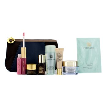 Estee Lauder Travel Set: Optimizer Lotion + Hydrationist Creme + ANR II + ANR Eye + Eye Mask + Foundation #36 + Lipgloss #04 & 26 + Bag 7pcs+1bag