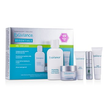 Exuviance Essentials Kit (Oily/ Acne Prone): Facial Cleanser + Eye Complex + Matte Perfection + HydraGel + Perfect 10 Serum 5pcs