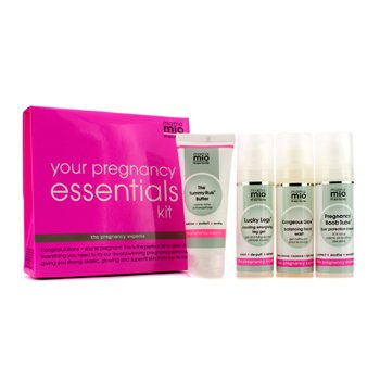 Mama Mio Your Pregnancy Essentials Kit: Tummy Rub Butter30ml + Facial Wash 30ml + Pregnancy Boob Tube 30ml + Lucky Legs 30ml  4pcs