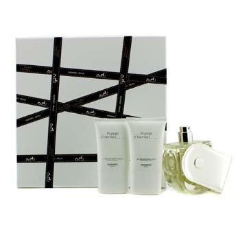 HermesVoyage D'Hermes Coffret: Eau De Toilette Refillable Spray 100ml/3.3oz + Body Lotion 30ml/1oz + Shower Gel 30ml/1oz 3pcs