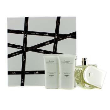 Hermes Voyage D'Hermes Coffret: Eau De Toilette Refillable Spray 100ml/3.3oz + Body Lotion 30ml/1oz + Shower Gel 30ml/1oz  3pcs