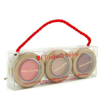 Elizabeth Arden 3 Lip Glosses with Built in Lip Brush (Frosted Camellia, Shimmering Pink, Radiant Mauve)  3x2.6g/0.09oz
