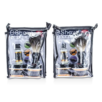 EShave Orange Sandalwood Travel Kit: Pre Shave Oil + Shave Cream + After Shave Soother + Brush + TSA Bag 4pcs+1bag