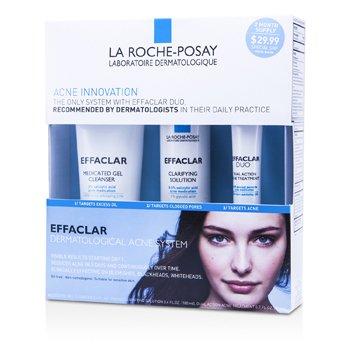 La Roche PosayEffaclar Dermatological Acne System: Gel Cleanser 100ml + Clarifying Solution 100ml + Acne Treament 20ml 3pcs