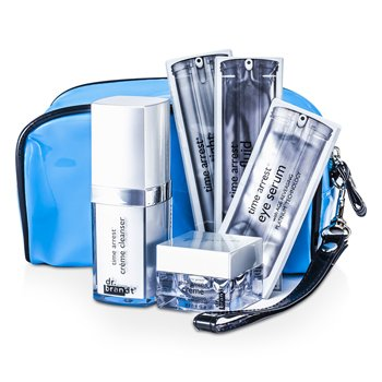 Dr. BrandtTime Arrest Travel Set: Creme Cleanser + Creme + Face Fluid + Laser Tight + Eye Serum + Collagen Booster + Bag 6pcs+1bag