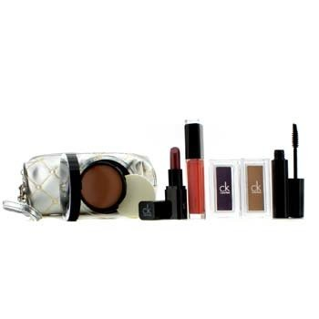 MakeUp Set With Silver Cosmetc Bag (1xFoundation, 1xMascara, 2xEyeshadow, 1xLipstick, 1xLip Gloss, 1xCosmetic Bag)