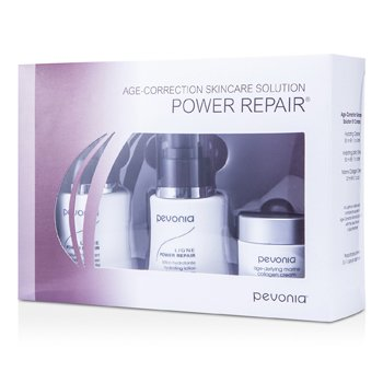 Pevonia BotanicaAge-Correction Skincare Solution - Power Repair: Limpiador Hidratante 50ml + Loci�n Hidratante 50ml + Crema de Col�geno Marino 20ml 3pcs
