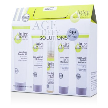Juice Beauty Age Defy Solutions: Cleansing Gel 60ml + Moisturizer 15ml + Moisturizer SPF 15 15ml + Green Apple Peel 15ml + Serum 7ml (Exp. Date: 07/2015) 5pcs