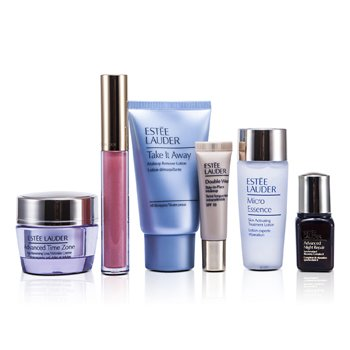 Estee Lauder Set de Viaje: Removedor de Maquillaje 30ml + Micro Esencia 30ml + Advanced Time Zone Crema 15ml + ANR II 7ml + Maquillaje #36 + Brillo de Labios #09  6pcs