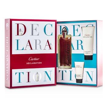 Cartier Declaration Coffret: Eau De Toilette Spray 100ml/3.3oz + Champ� Para Todo 100ml/3.3oz + Emulsi�n Para Despu�s de Afeitar 30ml/1oz  3pcs