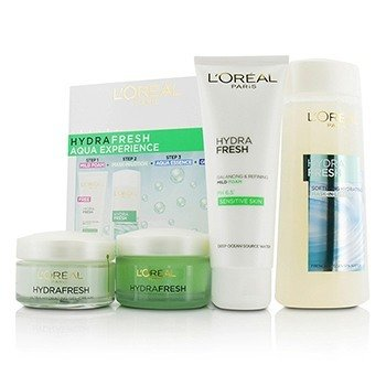 L'OrealHydrafresh Aqua Experience: Mask-In Lotion 200ml + Gel Foam 100ml + Aqua-Essence 50ml + Gel-Cream 50ml 4pcs