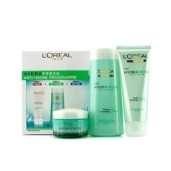 L'OrealHydrafresh Anti-Shine Programme: Icy Toner 200ml + Foam 100ml + Icy Gel 50ml 3pcs