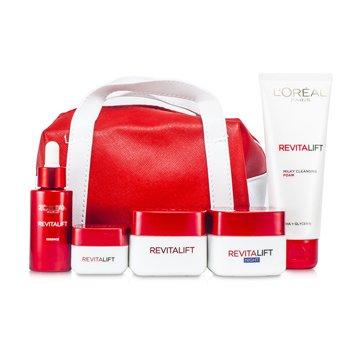 L'OrealRevitaLift Fight Ageing Pouch: Foam 100ml + Day Cream 50ml + Night Cream 50ml + Essence 30ml + Eye Cream 15ml +Bag 5pcs+1bag