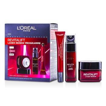 L'OrealRevitaLift Laser Renew Programme: Day Cream 50ml + Serum 30ml + Eye Cream 15ml 3pcs