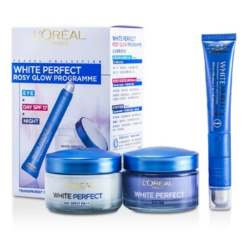 L'OrealWhite Perfect Rosy Glow Programme: Day Cream 50ml + Night Cream 50ml + Micro Vibration Eye Cream 15ml 3pcs