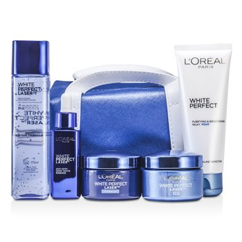 L'OrealWhite Perfect Laser Ritual: Treatment Water 175ml + Foam 100ml + Day Cream 50ml + Night Cream 50ml + Essence 30ml + Bag 5pcs+1bag