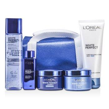L'OrealWhite Perfect Laser Ritual: Treatment Water 175ml + Foam 100ml + Day Cream 50ml + Night Cream 50ml + Essence 30ml + Bag 5pcs+1bag