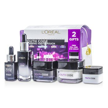 L'OrealYouth Code Preserve Youth Pouch: Night Cream 50ml + Day Cream 50ml + Serum 30ml + Eye Cream 15ml + Eye Essence 15ml + Bag 5pcs+1bag