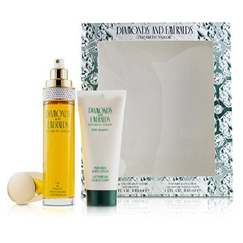Elizabeth Taylor Diamonds & Emeralds Coffret: Eau De Toilette Spray 100ml/3.3oz + Perfumed Body Lotion 100ml/3.3oz  2pcs