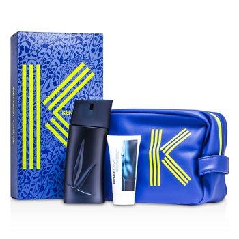 Image of Kenzo Homme Coffret: Eau De Toilette Spray 100ml/3.4oz + After Shave Balm 50ml/1.7oz + Fashion Pouch 2pcs+1pouch