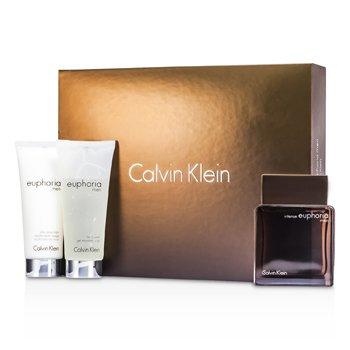 Calvin Klein Euphoria Intense Coffret: Eau De Toilette Spray 100ml/3.4oz + B�lsamo Para Despu�s de Afeitar 100ml/3.4oz + Gel Ba�o Corporal 100ml/3.4oz  3pcs