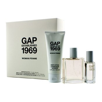 GapEstablished 1969 Woman Coffret: Eau De Toilette Spray 50ml/1.7oz + Spray de Viaje 15ml/0.5oz + Loci�n Corporal 100ml/3.4oz 3pcs