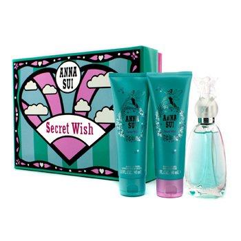 Anna SuiSecret Wish Coffret: Eau De Toilette Spray 50ml/1.7oz + Body Lotion 90ml/3oz + Shower Gel 90ml/3oz 3pcs