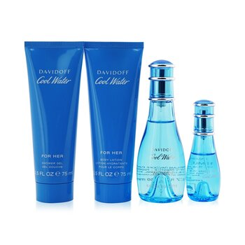 DavidoffCool Water Coffret: Eau De Toilette Spray 50ml/1.7oz + Eau De Toilette Spray 15ml/0.5oz + Loci�n Corporal 75ml/2.5oz + Gel de Ducha 75ml/2.5oz 4pcs