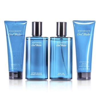 DavidoffCool Water Coffret: Eau De Toilette Spray 75ml/2.5oz + Despu�s de Afeitar 75ml/2.5oz + B�lsamo Para Despu�s de Afeitar 75ml/2.5oz + Gel de Ducha 75ml/2.5oz 4pcs