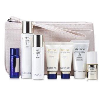 Shiseido Revital Set: Cleansing Foam I 20gx2pcs+Lotion EX II 75ml+Serum AAA 10ml+Moisturizer EX II 30ml+Lotion AA 20ml… 7pcs+1Bag
