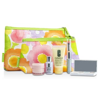 Clinique Travel Set: DDML+ + Moisture Surge + Laser Focus + Eye Shadow Quad #03 20 23 38 + Mascara & Lipstick #43 + 2xBag 5pcs+2bags