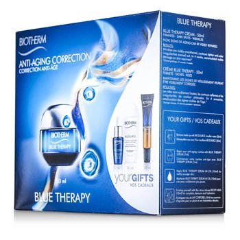 BiothermBlue Therapy Set: Cream 50ml + Cleansing Water 30ml + Serum 7ml + Serum In Oil 10ml + Body Milk 10ml 5pcs