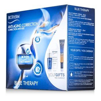 BiothermSet Blue Therapy: Crema 50ml + Agua Limpiadora 30ml + Suero 7ml + Suero En Aceite 10ml + Leche Corporal 10ml 5pcs