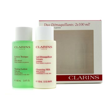 Clarins Cleansing Duo (Combination/ Oily Skin): Cleansing Milk 100ml + Toning Lotion 100ml 2x100ml/3.4oz