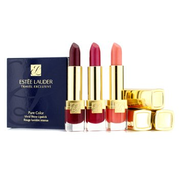 Estee LauderPure Color Vivid Shine Lipstick Trio (#FE Hot Coralline, #F7 Magnetic Magenta, #FJ Rebel Raspberry) 3pcs