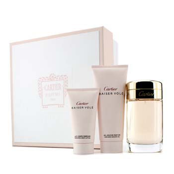 Cartier Baiser Vole Coffret: Eau De Parfum Spray 100ml/3.3oz + Gel de Ducha 100ml/3.3oz + Loci�n Corporal 50ml/1.6oz  3pcs