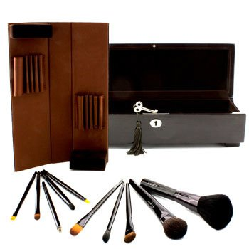 Signature Brushes: Luxurious 10 Piece Brush Collection (10x Brush, 1x Wooden Box)